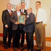 Congressman Peter Welch, RRCC President Dave Correll, Executive Director Tom Donahue and Mayor Chris Louras present Ron Cioffi with the Business Person of the Year Award