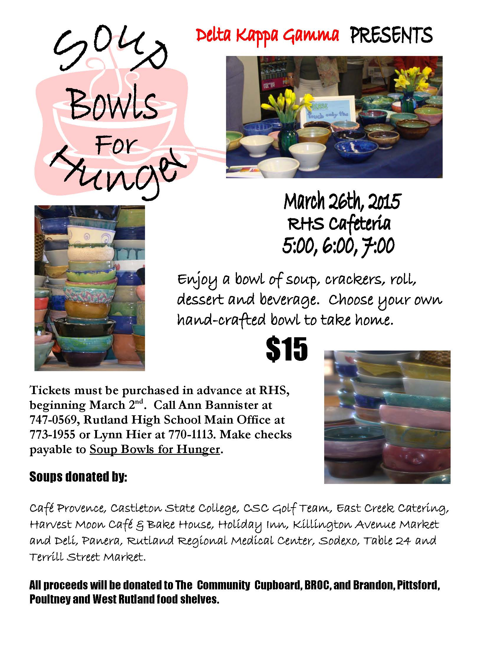 Soup bowls for hunger rutland region chamber of commerce the ninth annual soup bowls for hunger will be held on thursday march 26th in the rutland high school cafeteria solutioingenieria Image collections