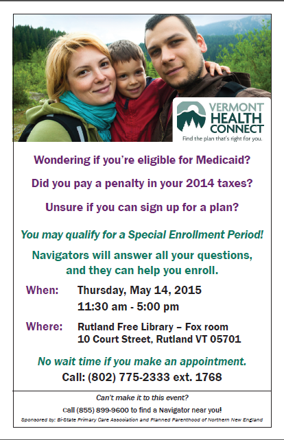 Free Talk Thursday May 14th In >> Vermont Health Connect Enrollment Event Rutland Region Chamber