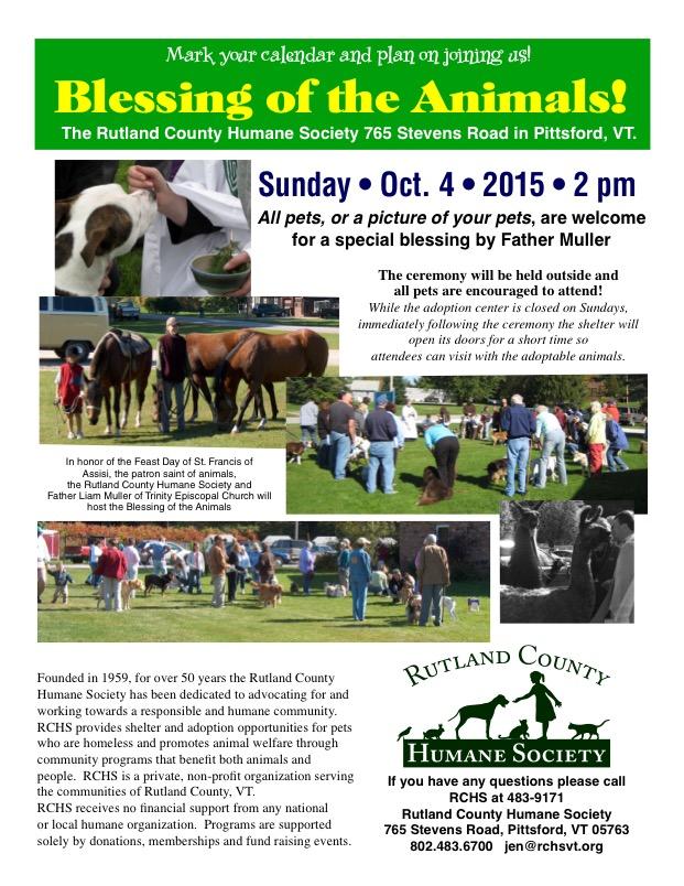 Rutland County Humane Society Blessing Of The Animals Rutland Region Chamber Of Commerce