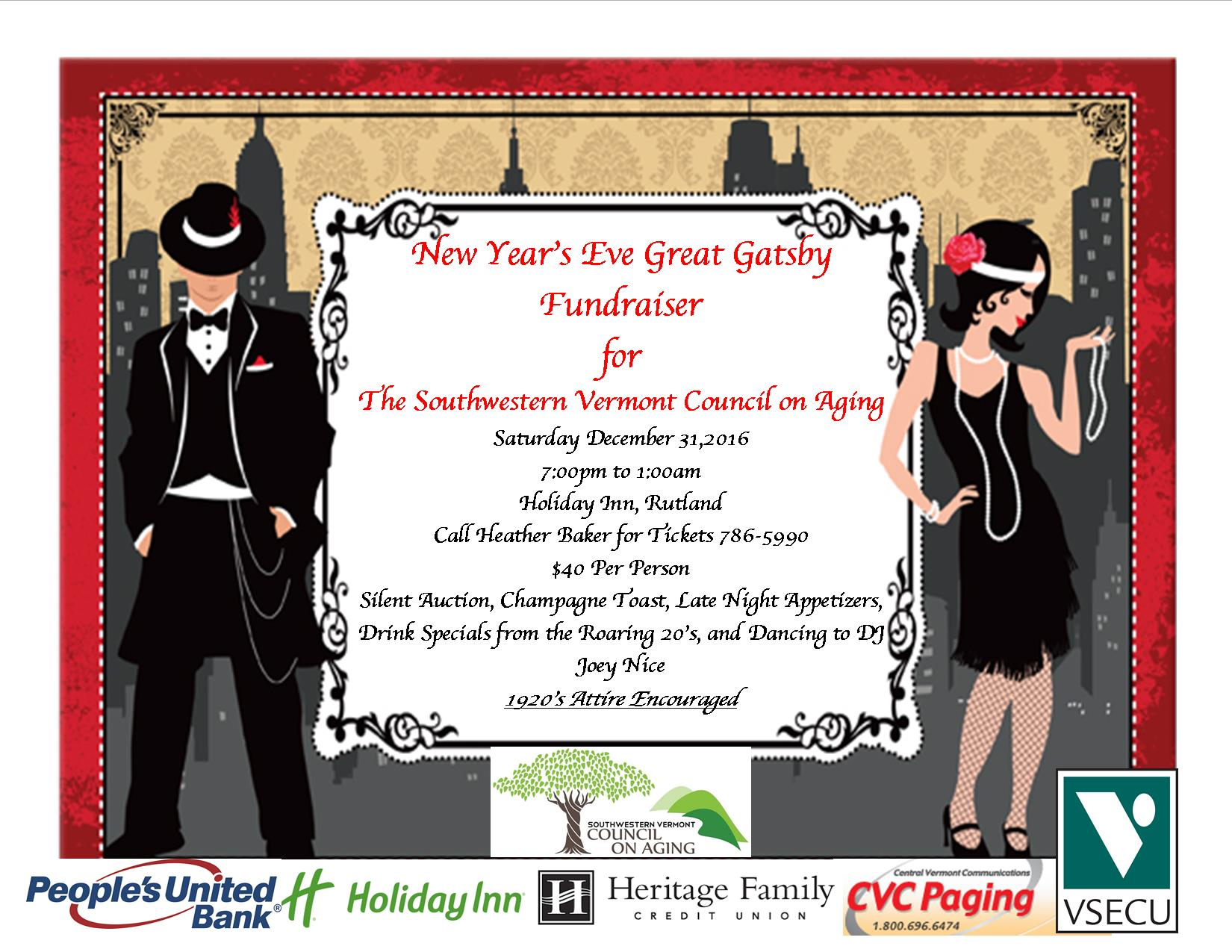 new years eve great gatsby fundraiser